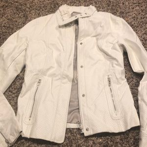 Armani exchange white leather jacket